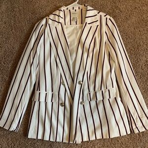 White blazer with navy and red pinstripes